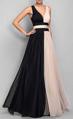 Elegant + Sexy Plunging Neck White Black Spliced Dress Fashion