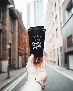 """Coffee is my happy place"" - Kaffee Coffee Is Life, I Love Coffee, Coffee Break, Best Coffee, My Coffee, Coffee Mugs, Coffee Thermos, Coffee Today, Cheap Coffee"