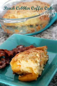 This Peach Cobbler Coffee Cake is a great homemade dessert recipe!