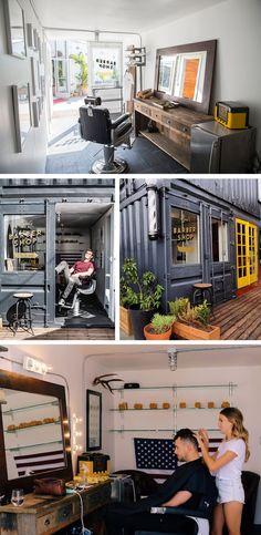 Barbearia feita com contêineres Projeto Container |