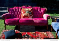 Plush sofas boasting a vintage aesthetic and rich colours, were showcased with ornate Persian carpets to form an opulent pre-drinks lounge setup. Funky Decor, Wedding Furniture, Persian Carpet, Carpets, Sofas, Love Seat, Glow, Plush, Lounge