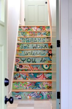 Stair art hand painted on MDF and then installed. Much easier (and less permanent) than painting directly on the stair risers! By Michelle Allen this would be awesome on a staircase leading to my craft room! Stair Art, Diy Stair, Painted Stairs, Wooden Stairs, Painted Staircases, Painted Floors, Stairway To Heaven, New Homes, Tiny Homes