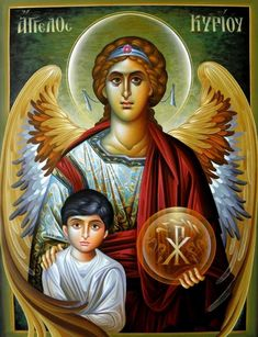 Archangel Raphael with Tobiah Religious Images, Religious Icons, Religious Art, Angel Warrior, Archangel Gabriel, I Believe In Angels, Religious Paintings, Byzantine Icons, Black Angels