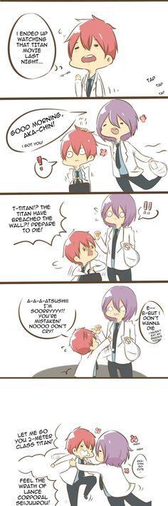 Tags: Anime, Parody, Humor, Kuroko no Basket, Murasakibara Atsushi, Akashi Seijuurou, Teikou Middle School