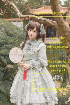 Mr.Fox -Crystal Butterflies- Classic Lolita JSK + Blouse + Accessories Set