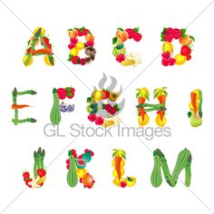 Alphabet Composed By Fruits And Vegetables, Fir...