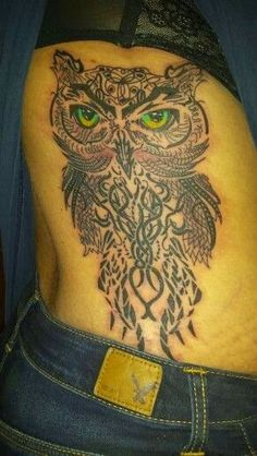 WOMEN BACK WITH OWL TATTOO DESIGNS