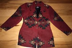 Vtg Mint Roper Tapestry Southwest Women's Jacket Medium Brick Green Black White #Roper #BasicJacket