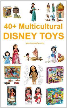 40+ Multicultural Disney Toys: Dolls, Play Figures, Puzzles; Princess Tiana, Aladdin, Moana, Mulan, Pocahontas, Elena of Avalor, Doc McStuffins and more