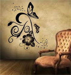 WALL ART STICKERS DECALS /LIVING ROOM /HALLWAY /FLOWERS