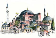 Hagia Sophia, Istanbul – Tuba Mete – Join the world of pin Hagia Sophia Istanbul, Landscape And Urbanism, Watercolor Architecture, Turkish Art, Urban Sketchers, Watercolor Sketch, Islamic Art, Travel Sketchbook, New Art
