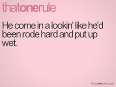 rode hard and put up wet. Can refer to males or females. One of my fave expressions!