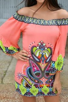 Free shipping Bohemian Sexy Off the Shoulder Printed Mini Dress
