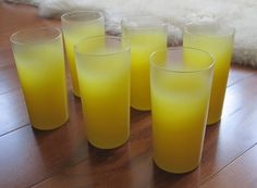 6 Bright Yellow Blendo Frosted Fade Tumblers High Ball Glasses 5 1/2""
