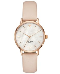 kate spade new york Women's Metro Vachetta Leather Strap Watch - Women's Watches - Jewelry & Watches - Macy's Marc Jacobs, Tory Burch, Cuir Rose, Kate Spade Watch, Gold Chains For Men, Michael Kors, Gold Hands, Leather Watch Bands, Jewelry Watches