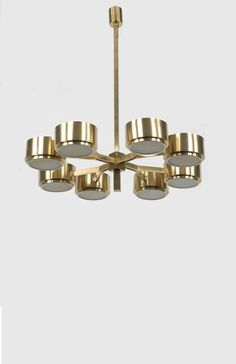 Hans Agne Jakobsson; Brass and Opaline Glass Ceiling Light, 1960s.