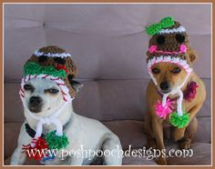 Christmas Gingerbread Dog Bandanna Crochet Pattern By Sara Sach of Posh Pooch Designs Rosie and . Free Crochet, Cat Crochet, Crochet Hats, Reindeer Hat, Animal Sweater, Christmas Gingerbread, Crochet Patterns, Crochet Ideas, Crocs