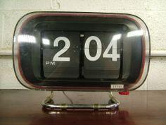Mid Century Modern 1960s Large Copal Model 801 Flip Ticket Clock Working