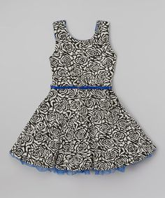 Look at this #zulilyfind! Black & Blue Floral A-Line Dress - Girls #zulilyfinds