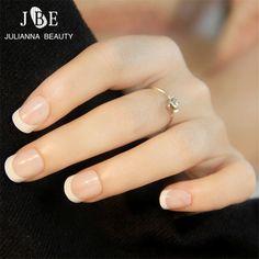 24 PCS French Nail Tips New Girls/Bride ABS Decorated False Nail With Glue Fake Nail Art Tips Full-Cover Nail Tips Faux Ongles