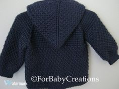Navy Blue Crochet Baby Sweater with Hood for by ForBabyCreations