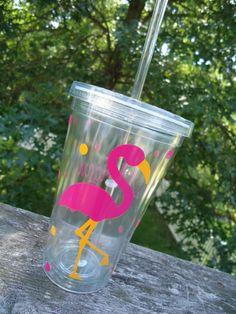 Personalizada vaso de acrílico diseño flamingo por DottedDesigns