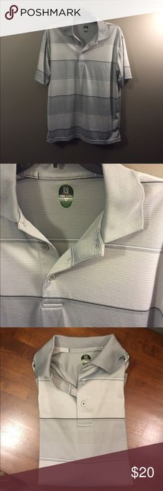 PGA Tour Gray Striped Color Block Polo Shirt M 🚨 Excellent condition! Thank you for looking! PGA Tour Shirts Polos