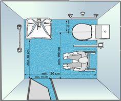Misure min bagni locali pubblici Design Wc, Toilet Design, House Design, Design Ideas, Plan Design, Ada Bathroom, Bathroom Plans, Hotel Room Design, Interior Design Living Room
