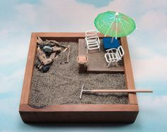 miniature zen beach garden beach chairs deck with umbrella seagull heron rustic kit
