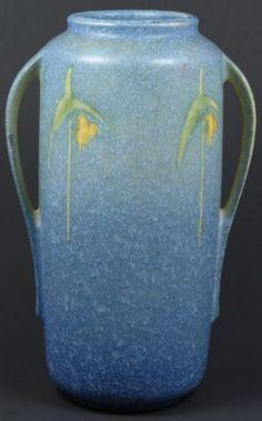 RARE ROSEVILLE DOUBLE HANDLE ART POTTERY VASE