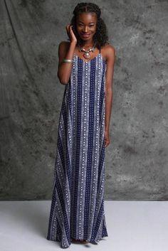 *** Pattern Maxi Dress *** SLEEVELESS WOVEN PRINT MAXI DRESS