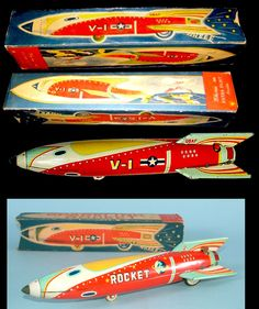 Space Rockets - SPARKLING ROCKET V-1 - MASUDAYA - JAPAN - ALPHADROME ROBOT AND SPACE TOY DATABASE