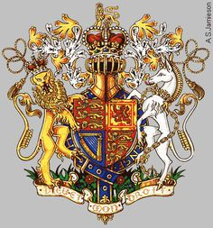 Plantagenet Arms [the unicorn has a braided horn and I resent that the symbol of Scotland is chained to England] Uk History, British History, Family History, European History, Royal Family Trees, Renaissance, Plantagenet, Wars Of The Roses, English Royalty