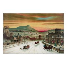 A Country Christmas Scene Poster
