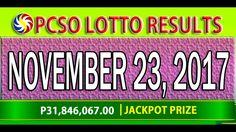 PCSO Lotto Results November 23, 2017 ( 6/49, 6/42, 6D, SWERTRES & EZ2 LO... Lotto Results, Youtube, November 23, Youtubers, Youtube Movies