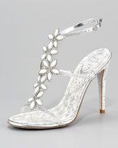 Rene Caovilla Floral Strap Sandal