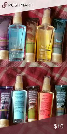 Victoria's Secret Set Brand NEW Victoria's Secret Set Includes: Beach (fragrance mist and body lotion) key notes: cactus blooms and sea salt Paradise (fragrance mist and body kotion) key notes: coconut water and star fruit  Escape body lotion   All travel sizes Victoria's Secret Other