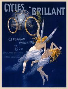 Cycles Brillant by H. Gray 1900 France - Beautiful Vintage Poster Reproduction. This vertical French transportation poster features a nude angel carrying another woman flying up to a bicycle and glowing diamond. Giclee Advertising Print. Classic Posters