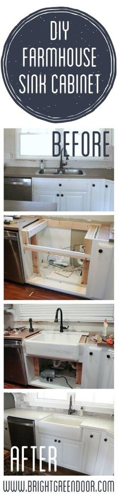 The Farmhouse Sink- Altering an existing cabinet base to fit a farmhouse sink. www.BrightGreenDoor.com by leah