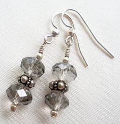 Smokey grey crystal sterling silver earrings on Etsy, $16.00