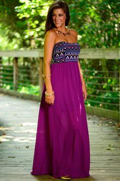 Fall Into Aztec Maxi, Purple
