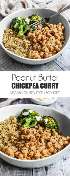 Vegan Chickpea Peanut Butter Curry - UK Health Blog - Nadia's Healthy Kitchen Whole Food Recipes, Dinner Recipes, Cooking Recipes, Healthy Recipes, Vegan Chickpea Recipes, Veggie Recipes Uk, Chickpea Recipes Vegetarian, Vegetarian Curry, Cooking Tips