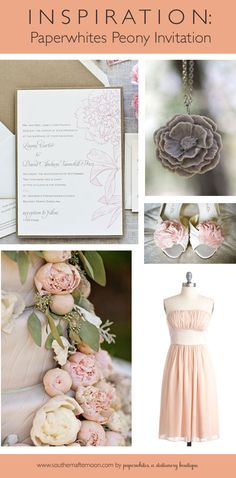 Peony invitation pinboard by Paperwhites stationery boutique featuring a very cool peony necklace, a sweet pink blush chiffon bridesmaid dress, some cool peony shoes and a lovely flower adorned wedding cake.  Love it
