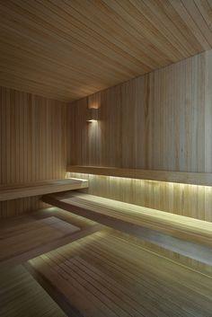 Wooden sauna accompanied by elegant lighting choices - Villalagos Chakra 11 House in Uruguay by Kallos Turin Sauna Steam Room, Sauna Room, Saunas, Luxury Spa, Modern Luxury, Luxury Pools, Sauna Lights, Sauna Hammam, Sauna Seca