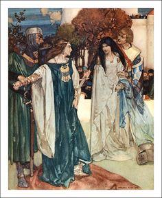 William Russell Flint: From `Le Morte d´Arthur King Arthur Legend, William Russell, Roi Arthur, Noble Knight, Pre Raphaelite, Medieval Art, Medieval Times, Traditional Paintings, Art Inspo