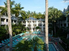 The pool area and courtyard at the Westin Key West is right off Mallory Square.