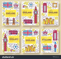 England vector brochure cards thin line set. Country travel template of flyer, magazines, posters, book cover, banners. Layout culture monument outline illustrations modern pages