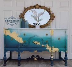 ideas for bathroom grey blue design seeds Teal Painted Furniture, Gold Leaf Furniture, Chalk Paint Furniture, Furniture Projects, Furniture Makeover, Diy Furniture, Teal Bedroom Furniture, Painted Buffet, Furniture Cleaning