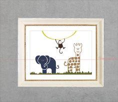 Monkey Elephant Camelopard on Green Grass by BannerDesignShop, $14.99