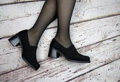 Comfy Gothic Alternative Shoes or Heels / Comfortable Minimalist Gothic Heels / Alternative Black Platform Booties / 90s Grunge Shoes